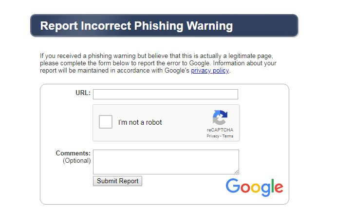 Report Incorrect Phishing Warning